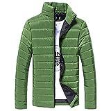 Leedford Fashion Jacket, Men Cotton Stand Zipper Warm Winter Thick Coat Jacket (Green, 3XL)