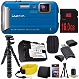 Panasonic DMC-TS30A LUMIX Active Lifestyle Tough Camera (Blue) + DMW-BCK7 Replacement Lithium Ion Battery + 16GB SDHC Class 10 Memory Card + Small Case + Waterproof Floating Strap + 12-Inch Flexible Tripod with Gripping Rubber Legs + SD Card USB Reader +