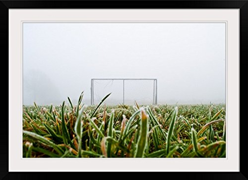 GreatBIGCanvas ''Frost and fog and football goal on soccer field.'' Photographic Print with Black Frame, 36'' x 24'' by greatBIGcanvas