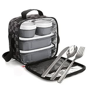 Kit Urban Food con Cubiertos en Acero Inoxidable 18/0 Niquel Free - Bolsa Térmica Porta Alimentos con 4 Tapers Herméticos. Chess