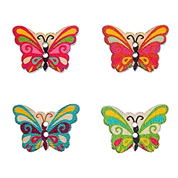 50 piezas 2 22 byaryTM agujeros para costura de botones de madera de el polvo de mariposa y embellecedores álbumes de recortes: Amazon.es: Hogar