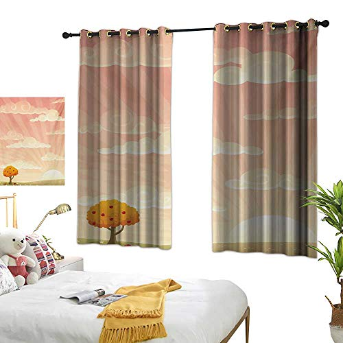 LsWOW Bedroom Curtains W63 x L45 Meadow,Lonely Tree Floral Rural Field Clouds and Sun Reflections Idyllic Cartoon,Pale Peach Coral Curtains 2 Panel Set for ()