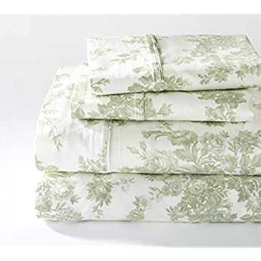 Wingate Collection 400 Thread Count Cotton Rich Printed Luxury Sheet Set By Home Fashion Designs (Queen, Green)