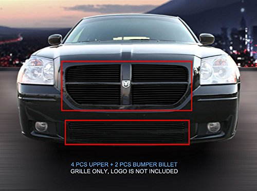 Dodge Magnum Billet - Fedar Compatible 2005-2007 Dodge Magnum Replacement Combo Billet Grille Grill 6-pc Set-Black