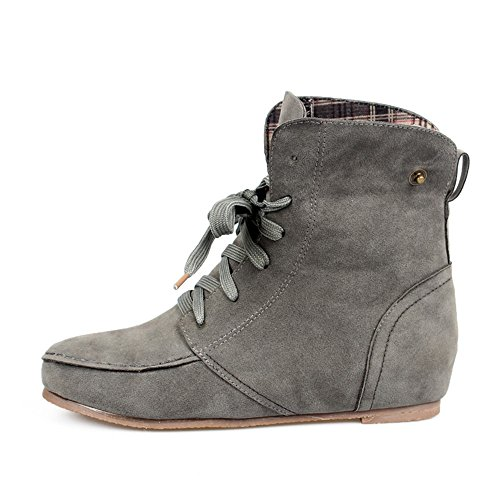 New Women Girls Ankle Martin Boots Flat Lace up Short Suede Booties Autumn Shoes Gray FPD1t34E5