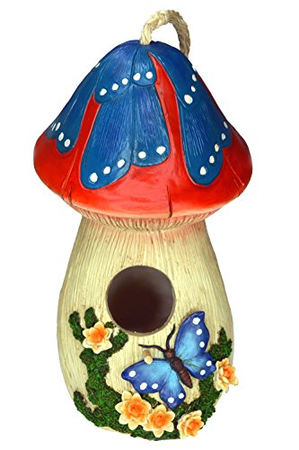 Polyresin Bird (Hand-painted Mushroom Birdhouse with Flowers and butterfly, garden decor)
