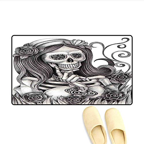 (Bath Mat Sexy Skull Girl with Floral Veil Ceremony Day of The Dead Bride Skeleton Lady Art Door Mat Increase Grey White)