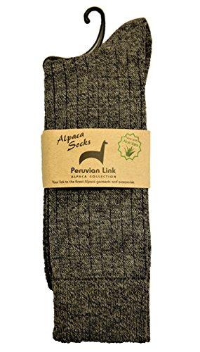 Peruvian Link Premium Moisture Wicking Alpaca Dress Socks - Treated with Aloe Vera (Smokey Grey, Extra Large)