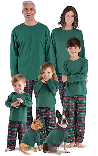 PajamaGram Red and Green Plaid Matching Family Christmas Pajamas Green