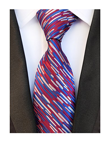 Mens Narrow Blue Red Woven Silk Ties Palette Regular Soft Business Boys Necktie by Elfeves (Image #1)