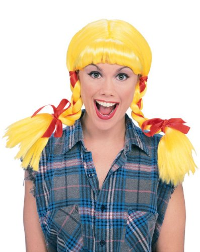 Rubie's Costume Country Girl Pigtails Wig, Yellow, One Size - Farmer Girl Halloween Costumes