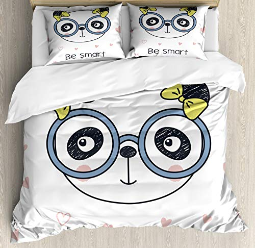 Ambesonne Geek Duvet Cover Set, Hand-Drawn Doodle Panda Girl Wearing Glasses on White Background with Heart Shapes, Decorative 3 Piece Bedding Set with 2 Pillow Shams, Queen Size, Slate Blue
