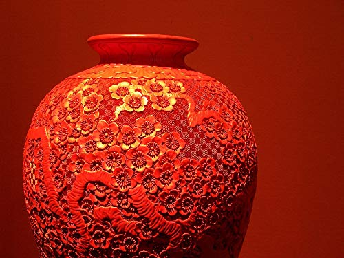 (Home Comforts Peel-n-Stick Poster of Artwork Vase Relic Musuem Red Lacquerware Vivid Imagery Poster 24 x 16 Adhesive Sticker Poster Print)