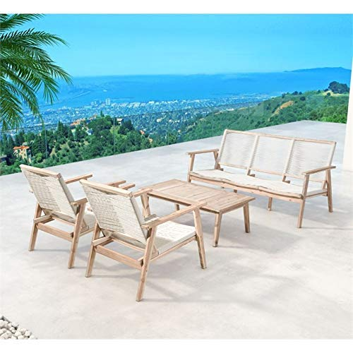 Amazon.com: Zuo sur port Patio Arm Chair, White Wash ...