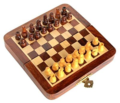 StonKraft Collectible Folding Wooden Pocket Travel Chess Game Board Set with Magnetic Crafted Pieces, 7-Inch x 7-Inch