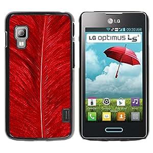 Qstar Arte & diseño plástico duro Fundas Cover Cubre Hard Case Cover para LG Optimus L5 II Dual E455 / E460 / Optimus Duet ( Feather Red Bird Nature Bright Nature)