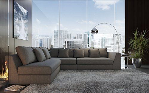 "UrbanMod Modern Reversible Sectional Sofa Gray 120""- 170"" - With its modern form, extra plush back cushions and crisp tailoring, the spacious elegant Sofa elevates your home. Polished stainless-steel lines a solid wood frame while a soft gray fabric and four throw pillows make it perfectly cushy and ready to lounge. A flexible L-shaped design is manually customizable to fit any space by converting to left side or right side or in between to extend as a sectional. - sofas-couches, living-room-furniture, living-room - 51ocwRnpSaL -"