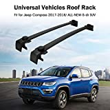 Partol Roof Rack Cross Bars for 2017 2018 Jeep Compass - All-NEW-5-dr SUV Luggage Rail Crossbars Luggage Carrier with Side Rails (1 Pair - Black)