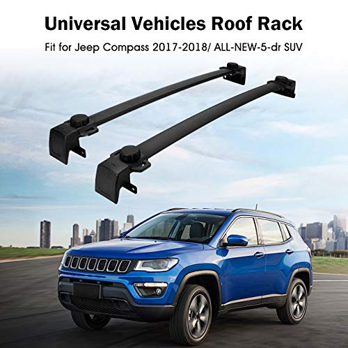 Partol Roof Rack Cross Bars for 2017 2018 Jeep Compass, All-NEW-5-dr SUV Luggage Rail Crossbars Luggage Carrier with Side Rails (1 Pair, ()