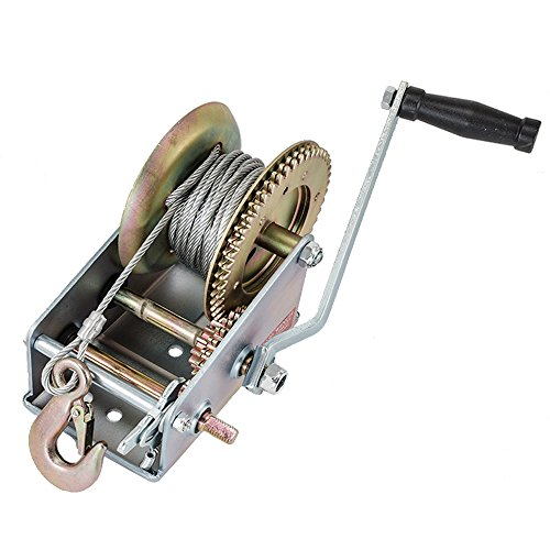 HexAutoparts 3500LBS Dual Gear Hand Winch Hand Crank Manual Trailer Cable fits Boat ATV Auto RV 33ft Cable