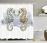 Ambesonne Animal Decor Shower Curtain, Seahorse Love Valentine's in Paintbrush Art Technique Grunge Splash on Background, Fabric Bathroom Decor Set with Hooks, 75 Inches Long, Gray Cream