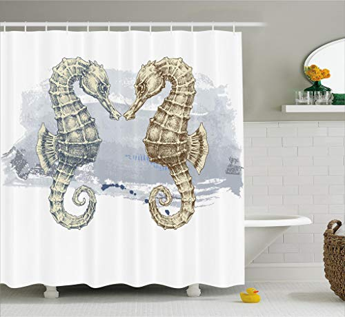 Ambesonne Animal Decor Shower Curtain, Seahorse Love Valentine's in Paintbrush Art Technique Grunge Splash on Background, Fabric Bathroom Decor Set with Hooks, 75 Inches Long, Gray Cream by Ambesonne