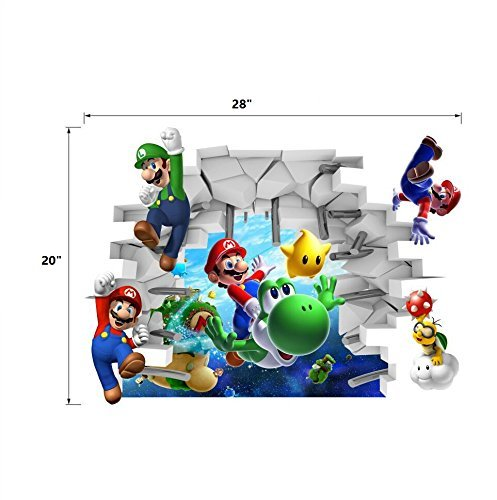 New Super Mario Removable Bros Kids Room Games Wall Sticker Decals Home Decor Vinyl ()