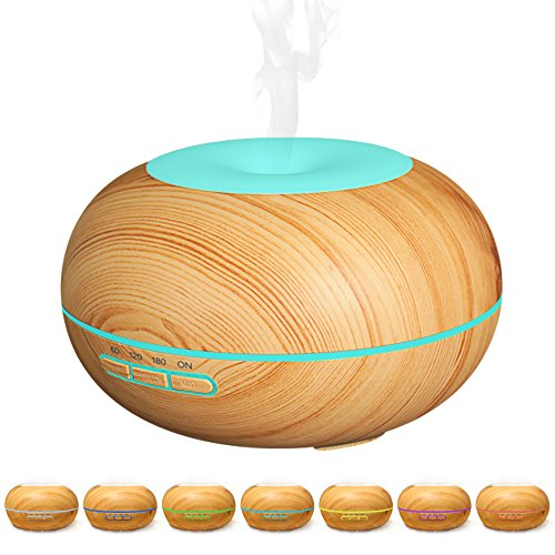 Gospire 300ml Aroma Essential Oil Ultrasonic Humidifier Aromatherapy Diffuser, Wood Grain, 7 Color Change LED Light, Cool Mist Humidifier for Office Home Yoga Spa