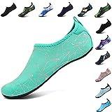 VIFUUR Men Women Quick Drying Aqua Lightweight Water Shoes for Pool Beach Exercise GeometricGreen-40/41
