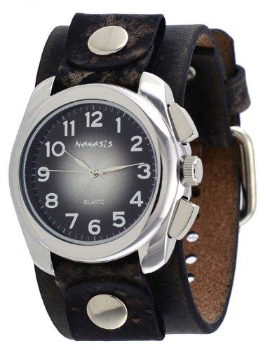 Nemesis #NFBB091K Men's Elegant Gradient Sunburst Black Dial Wide Leather Cuff Band Watch