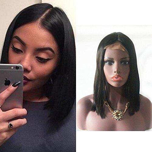 Fanshow Brazilian Virgin Hair Glueless Short Bob Wig Straight Middle Part Machine Made Human Hair Wigs 12inch - Short Bob Hair Human