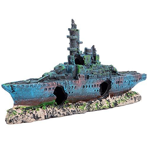 SLSON Aquarium Decorations Shipwreck,Fish Tank Battleship Ornament Eco-Friendly Resin Warship Boat Decor,9 inch L x 4.3 inch Height