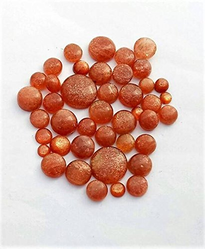 (Sunstone smooth coin shape cabochons 5 mm to 18 mm 40 pieces 202 Ct M No.- 1377)