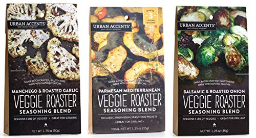 Urban Accents All Natural Gluten Free Veggie Roaster Vegetable Seasoning 3 Flavor Variety Bundle: (1) Urban Accents Balsamic & Roasted Onion Veggie Roaster, (1) Urban Accents Parmesan Mediterranean Ve