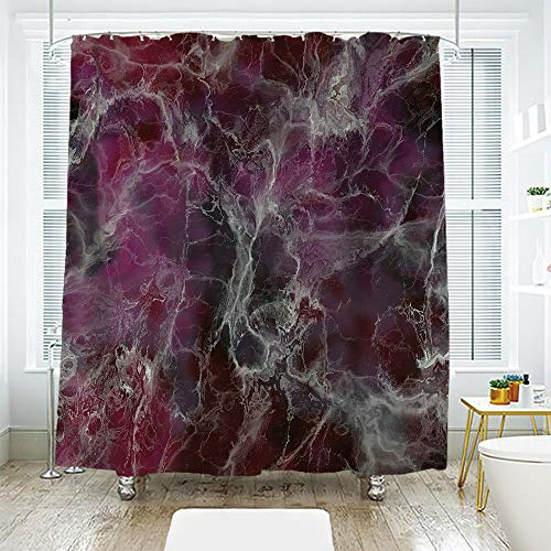 scocici Bathroom Curtain Separation Door Curtain Shower Curtain,Marble,Psychedelic Stylized Artistic Dark Colors Cloudy Onyx Stone Surface Print Decorative,Charcoal Grey Magenta,70.8