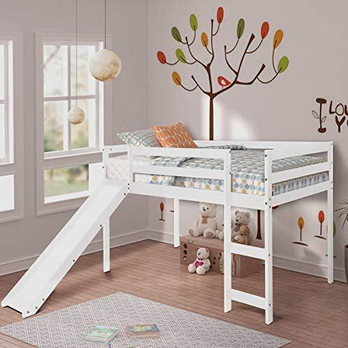 COZYWELL Full Pine Wood Twin Loft Bed with Slide for Your Children, Multifunctional Kids Tent Bed Environment Friendly (White Finish)