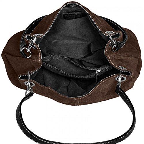 pelle marrone Tl621 Vera Handbag Caspar italiana scuro Ladies ICHqw11xf