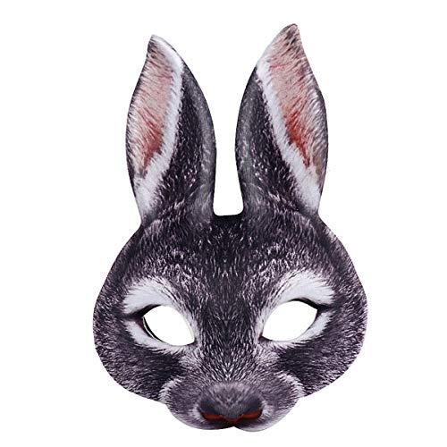 Amosfun Half-Face Rabbit Mask Creative Funny Decor Rabbit Ear EVA Mask for Party Festival Club (Black)