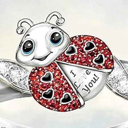 Kemanner Regalo dei monili anello dello strass di forma della coccinella della lega di modo delle donne Anelliere