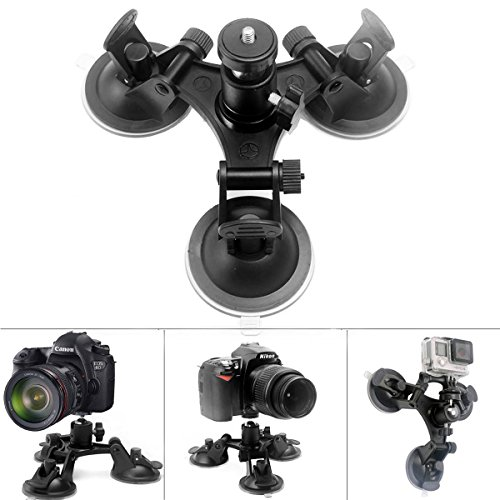 Price comparison product image Fantaseal Camera Tri-cup Suction Mount DSLR Camera Camcorder GPS Suction Mount w/ Ball Head for Canon Nikon Pentax Sony Panasonics Fujifilm Ricoh Digital Camera Car Window Suction Mount Holder Stand