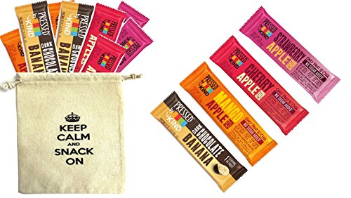 Kind Pressed Bars - 4 Flavor Fruit and Veggie Bar Variety Pack (Pack of 12) with One Organic Snack Pouch 9