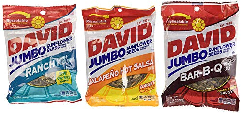 - David Sunflower Seeds 5.25 oz Variety Pack (Pack of 6) 2 Bags of David Sunflower Seeds BBQ Natural Flavor + 2 Bags of David Sunflower Seeds Ranch Flavor + 2 Bags of David Sunflower Seeds Jalapeno Hot Salsa Flavor