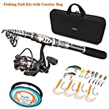PLUSINNO Spinning Rod and Reel Combos FULL KIT Telescopic Fishing Rod Pole with Reel Line Lures Hooks Fishing Carrier Bag Case and Accessories Fishing Gear Organizer Review