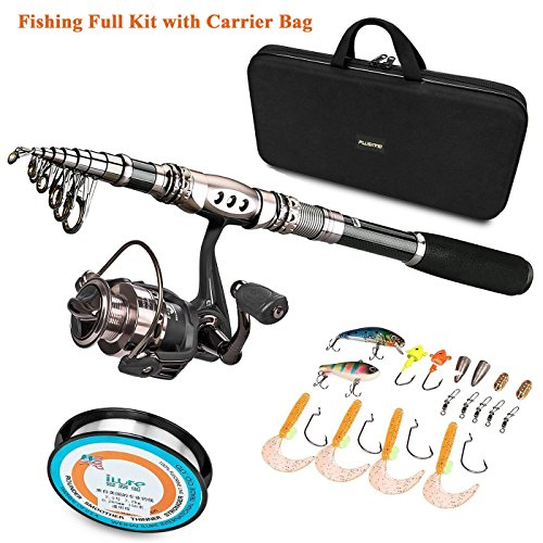 PLUSINNO Spinning Rod and Reel Combos FULL KIT Telescopic Fishing Rod Pole with Reel Line Lures Hooks Fishing Carrier Bag Case and Accessories Fishing Gear Organizer Bags Full Line
