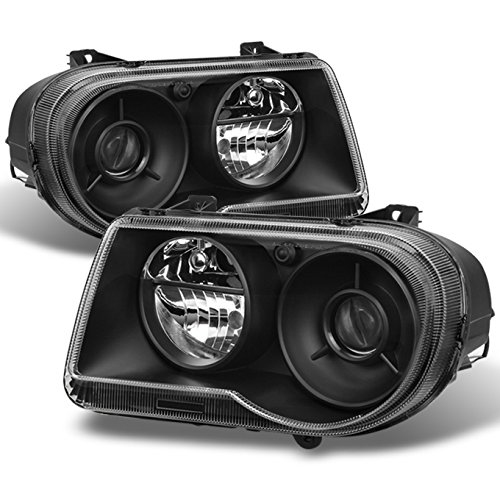 For Black Bezel 05-10 Chrysler 300C Headlights Front Lamps Direct Replacement Pair Left + ()