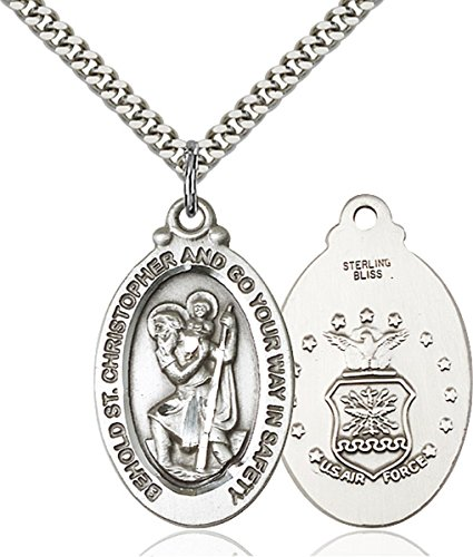 Military and Service Medals by Bliss Sterling Silver Saint Christopher United States Air Force Medal Pendant, 1 1/8 Inch