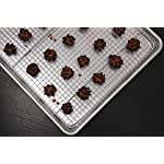 "Hiware Cooling Rack for Baking - 11.8"" x 16.5"" - Stainless Steel Wire Cookie Rack Fits Half Sheet Pan, Oven Safe for Cooking, Roasting, Grilling 10 SOLID STAINLESS STEEL GRID CONSTRUCTION - Hiware's cooling rack is made of high quality [GRADE] stainless steel that is made to last for years. The tight grid design gives stability to the rack, which makes it easy to balance baked goods, meats, fruits, and vegetables without the possibility of them falling through the slats. OVEN AND GRILL SAFE - This commercial-grade rack resists heat up to 575 degrees Fahrenheit making it perfect for use in the oven or grill. This versatile rack is the perfect complement to any kitchen and holds up to 20 pounds of food without sagging or bending. PERFECT SIZE - Measuring 11.8""x16.5"", the Hiware rack fits inside a half sheet (13""x18"") cookie pan or comfortably on a countertop. After use, it is easy to store in your cabinet or drawer."