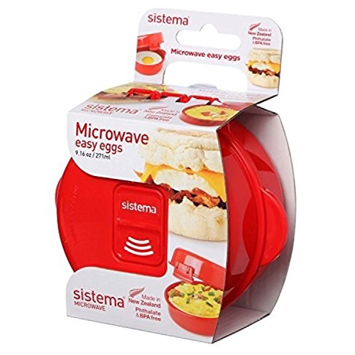 Sistema Microwave Cookware Easy Eggs, Red | BPA Free Cook and Serve Container