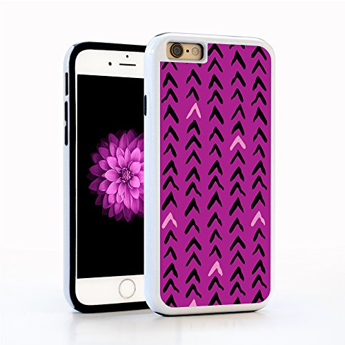 iPhone 6 Case, Modern Chevron Pattern, Hand Illustrated and Printed in Baby Pink and Purple on Bright Pink Background, White PC with Black Rubber inside. Protective Cover for Apple 4.7-inch]()