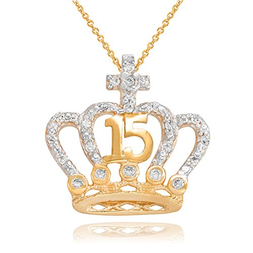 (CZ-Studded Crown Cross Sweet 15 Años Quinceanera Necklace in 10k Yellow Gold, 22